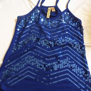 Eyeshadow Blue Sequined Strap Tank top